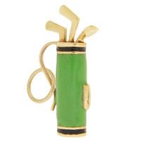 Vintage Enameled Golf Bag 14k Gold Charm