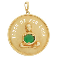 "Vintage Large ""Touch Me For Luck"" Buddha 14k Gold Charm"