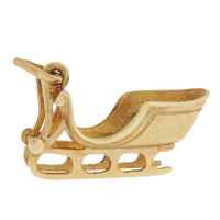 Vintage Holiday Sled 14k Gold Charm