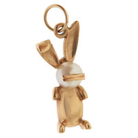 Vintage Pearl Bunny With Golden Whiskers 14k Gold Charm