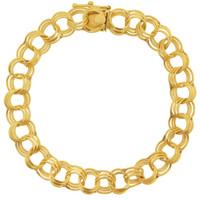 Vintage Traditional Triple Link 14k Gold Charm Bracelet