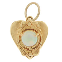 Vintage Etruscan Heart With Opal 14k Gold Charm