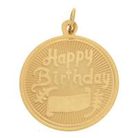 Vintage Happy Birthday 14k Gold Charm