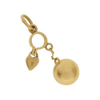 Vintage Ball & Handcuff With Heart 14k Gold Charm