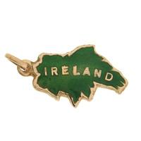 Vintage Enameled Map of  Ireland 9k Gold Charm