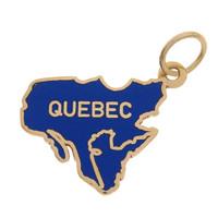 Vintage Enameled Map of Quebec 14k Gold Charm