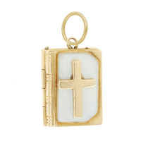 Vintage Mother of Pearl Bible 14k Gold Charm