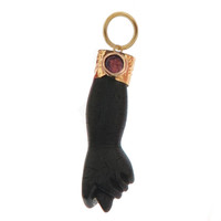Vintage Ebony Figa With Pink Tourmaline 14k Gold Charm