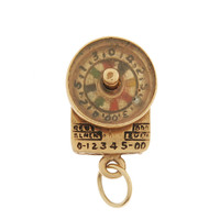 Vintage Roulette Wheel Movable 14K Gold Charm