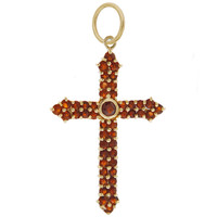 Vintage Garnet Cross 14K Gold Charm
