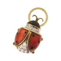 Vintage Diamond Enameled Ladybug 10k Gold Charm