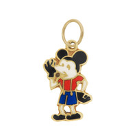 Vintage Small Enameled Mickey Mouse 14k Gold Charm
