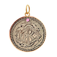 "Vintage Love Coin with Ruby ""B D I"" 14k Gold Charm"
