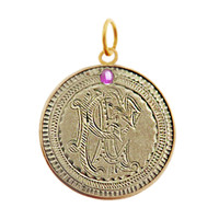 "Vintage Love Coin with Ruby ""P E"" 14k Gold Charm"