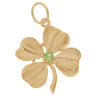 Four Leaf Clover with Peridot 14k Gold Charm