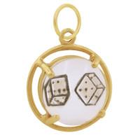 Vintage Die in Glass 14k Gold Charm