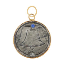 """Vintage Love Coin """"Bell"""" 14k Gold Charm"""