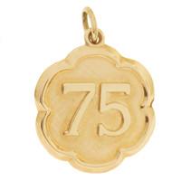 """Vintage Number """"75"""" 14k Gold Charm"""