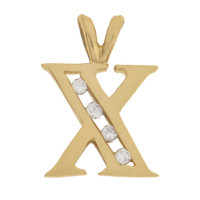 "Vintage Diamond  Letter ""X"" 14k Gold Charm"