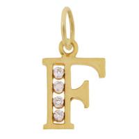 "Vintage Diamond  Set Letter ""F"" 14k Gold Charm"