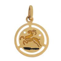 Vintage Enameled Aries Zodiac 18k Gold Charm