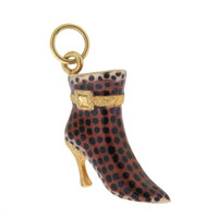 Leopard Enameled Boot 14k Gold Charm