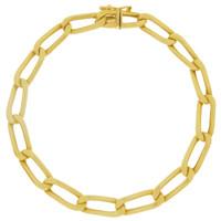 Vintage Elongated Curb 14k Gold Charm Bracelet