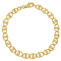 Vintage Interlocking Organic Links 14k Gold Charm Bracelet