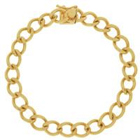 Vintage Rounded Curb 14k Gold Charm Bracelet