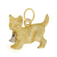 Vintage Cat With A Bell 14k Gold Charm