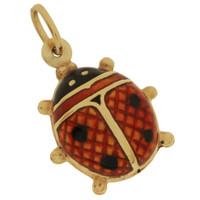 Vintage Red Enameled Ladybug 14k Gold Charm