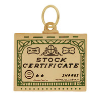 Vintage Enamel Stock Certificate 14K Gold Charm
