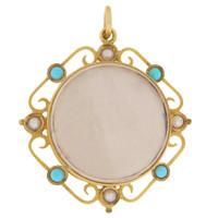 Vintage Art Nouveau Pearl & Turquoise Locket 9k Gold Charm