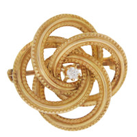 Vintage Love Knot With Diamond 14k Gold Charm