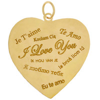 Language Of Love Heart 14K Gold Charm