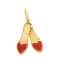 Vintage Red Heart Enameled Slippers 18k Gold Charm