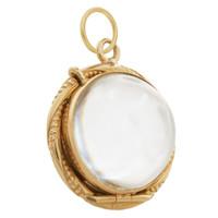 Vintage Victorian Crystal Pool of Light Locket 14k Gold Charm