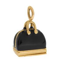 Vintage Black Enamel Handbag 14k Gold Charm