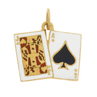 "Vintage ""21"" Blackjack Cards 14K Gold Charm"