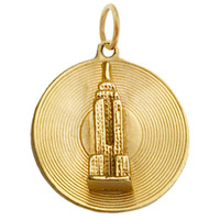 Vintage Empire State Building Disc 14k Gold Charm