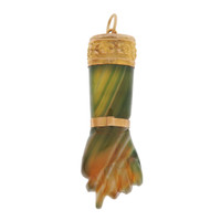 Vintage Green Banded Agate Figa 18k Gold Charm