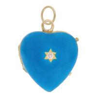 Vintage Turquoise Enamel Heart Locket 14k Gold Charm
