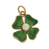 Vintage Green Clover 14K Gold Charm
