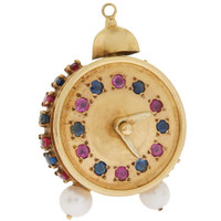 Vintage Jeweled Clock 14K Gold Charm