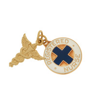 Vintage Registered Nurse 14k Gold Charms
