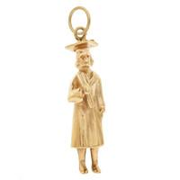Vintage College Graduate 14k Gold Charm