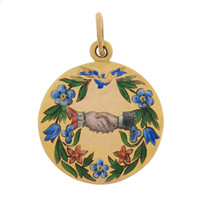Vintage Russian Wreath with Clasped Hands 14k Gold Charm