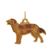 Vintage Dog- Golden Retriever 14k Gold Charm