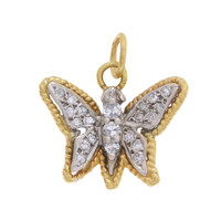 Vintage Diamond Set Butterfly 14k Gold Charm
