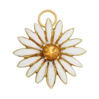 Vintage White Enameled  Daisy 14K Gold Charm